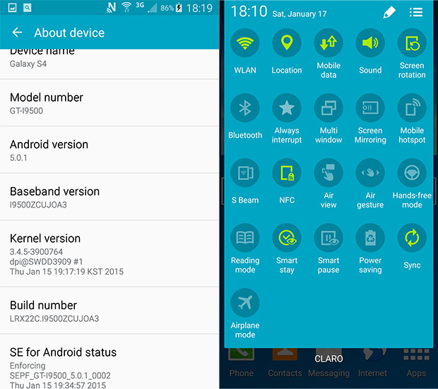 Galaxy S4 (I9500) Android 5.0.1 firmware leaked